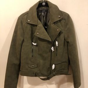 Forever 21 Army Green Moto Jacket Size Large